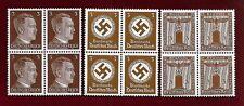 3 Nazi Germany Third 3rd Reich POST 3 pf FRANCHISE HITLER SWASTIKA stamp blocks