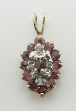 Estate Vintage 10K Yellow Gold Genuine Red Ruby And Diamond Pendant Necklace