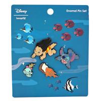 Loungefly Disney Lilo and Stitch Hawaiian Roller Coaster Ride 4 Pc Pin Set