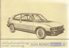 ALFA ROMEO ALFASUD TI MANUALE DI ISTRUZIONI 1980 MANUALE MANUALE BA