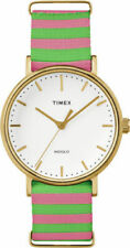 Timex TW2P91800,  Fairfield Weekender Striped Fabric Watch, Indiglo, 37MM