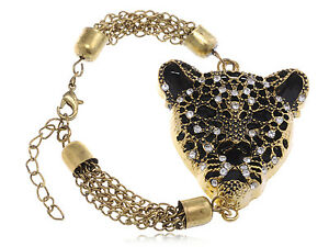 Gold Tone Cheetah Head Black Enamel Clear Rhinestone Chain Vogue Bracelet Gifts