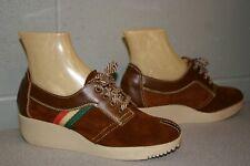 Nos 6 B Brown Suede Stripe Vtg 1960s 1970s Mystiques Platform Heel Oxford Shoe