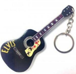 Elvis Presley 10cm Wooden Tribute Guitar Key Chain #2