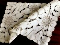 Vintage Hand Embroidered White Cotton Silver Taupe Cutwork Table Centre Cloth