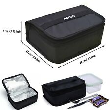 Thermal Insulated Lunch Bag Black Cooler Warmer Small Box Pouch