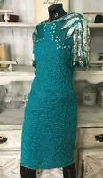 Vintage Laurence Kazar Sequin Silver Beaded Teal Gown Sz S,  AS-IS for FUN PARTY