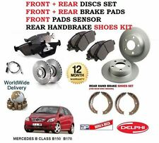 FOR MERCEDES B150 B170 2005-> FRONT + REAR BRAKE DISCS SET + PADS + SHOES SENSOR