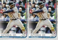 2 CARD LOT - 2019 TOPPS SERIES 1 #1 RONALD ACUNA JR. ROOKIE CUP ATLANTA BRAVES