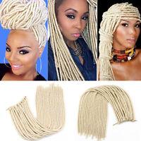 20'' Synthetic Faux Locs Twist Crochet Braid Hair Extensions Dreadlocks Blonde