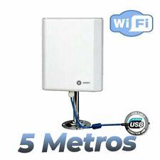 Antena WIFI Wonect Panel interperie exterior alta potencia USB 5 metros Wireless