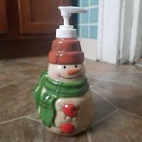 "Hallmark Mitford Snowman Soap Dispenser 7 1/2"" Tall Crackled Look"