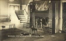 Canaan NH Inn Living Room Fireplaec c1915 Real Photo Postcard