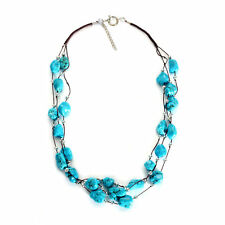 """Chunky Natural Beauty! Blue Howlite 26"""" Necklace in Silvertone - 300 cts"""