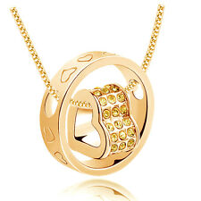 Fashion Women Heart Yellow Crystal Charm Pendant Chain Necklace Gold NEW CD16