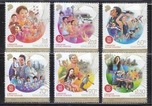 SINGAPORE 2015 50 YEARS OF INDEPENDENCE 1965-2015 COMP. SET OF 6 STAMPS MINT MNH