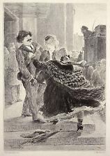 Gravure Etching Incisione Kupferstich d'après Charles Léandre par Louis Müller