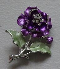 Purple Flower Rose Enamel Fashion Brooch Pin Brand New FREE P&P
