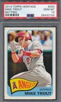 2014 Topps Heritage MIKE TROUT #250 SP Action Variation PSA 10