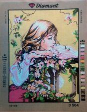 "Needlepoint tapestry canvas.Girl 45x60cm (17.5x23.5"") Gobelin L D564"