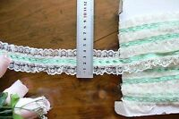 Poly Gathered IVORY Lace with 4mm GREEN SatinThread 6 Metre Length 44mm Wide FRL