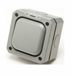 ECLIPSE Weatherproof Outdoor Garden Switch 1 Gang 2 Way 20 Amp IP66  - EOD1G2W