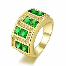Breathtaking Halo Emerald Band10KT Gold Filled Men's Engagement Ring Gift Size 9