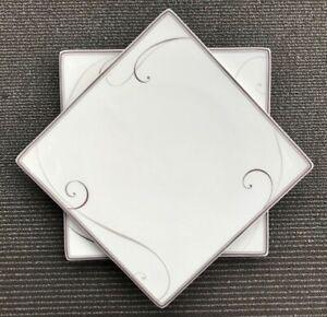 Noritake Square Platnium Wave Dinner Plates Silver & White 9317 set of 2
