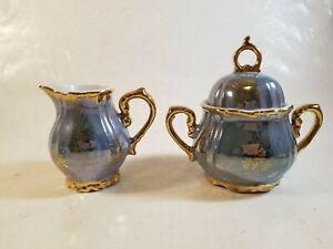 Porcelain Sugar Bowl and Lid and Matching Creamer Blue Gold Trim Japan Vintage