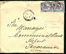 QUEENSLAND 1904 - 2d BLUE x2  TATTERSALLs Cover, Commercial Bank, Hobart [L0002]
