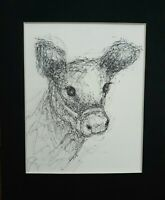 Original Pen Ink Baby Calf Animal Scribble Drawing Crossley Art sketch Cow Farm