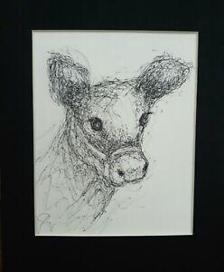 Original Pen Ink Baby Calf Animal Scribble Drawing Crossley Art sketch Cow Farm