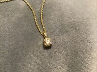 0.75 Carat Canary Yellow Round Diamond Pendant With Necklace 9k Yellow Gold