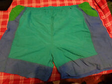 vtg 80's LAGUNA SWIM SHORTS  BLUE GREEN TRUNKS  Mens size large 36-38