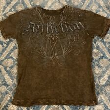 Affliction Brown Black Angel Wings Distressed Live Fast T Shirt Men M Medium