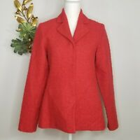 Eileen Fisher Classic Red Wool Mohair Blazer Jacket Sz 6 Snap Front 2 Pockets