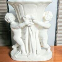 """Vintage Maruhon Occupied Japan Cherubs Planter White 6.5"""" Valentine's Angels EUC"""