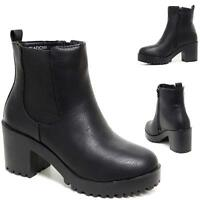 Womens Ladies Chunky Block High Heel Shoes Platform Chelsea Ankle Boots Shoes