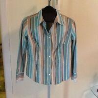 Ladies Ann Taylor Loft Stripe Shirt Size 10P