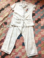 74e4a558ffc5 Vintage 1930s 1940s White Silky Rayon Pajama Lounge Outfit Floral Embroidery