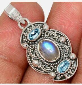 Rainbow Moonstone & Blue Topaz 925 Silver Pendant Jewelry Necklace