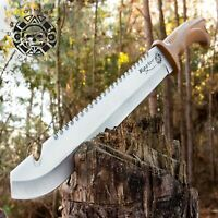 Raptor Survival Machete Knife Heavy duty Full Tang with Belt Sheath, Sawback