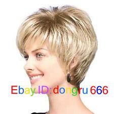 Natural Light Blonde Straight Short Hair Wigs Short Women's Fashion Wig +wig cap
