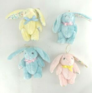 """Vintage Jointed Bunny Rabbits Lot of 4 Plush 5"""" Stuffed Animal Blue Pink Yellow"""