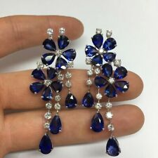 9Ct Pear Blue Sapphire Simulnt Diamond Chandelier Earrings White Gold Fns Silver