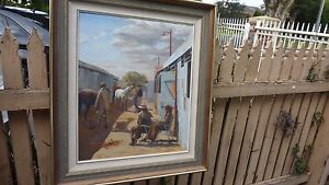 """Vintage Jean M Rowe """"Stable Area -Royal show"""" Oil On Board Signed"""