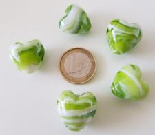 1 grosse perle coeur de Murano faite à la main 20x20mm blanc et émeraude //22