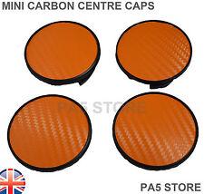 4x MINI ARANCIONE IN CARBONIO centro ruota Hub Caps 54mm di diametro Coupe Cooper S-UK