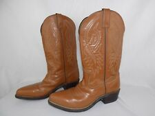 Justin Cowboy Boots Tan Brown Leather Mens Size 9 D Country Western Shoes  VTG