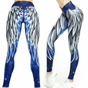 Women's Compression Workout Fitness Yoga Leggings for Sport Gym Pants Angel Wing